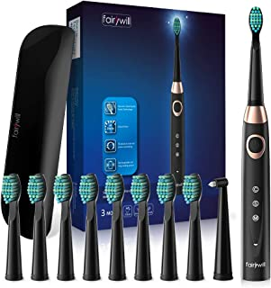 Fairywill Sonic Electric Toothbrush Black Series, 10 DuPont Brush Heads for Orthodontic Braces Cleaning, USB Rechargeable Sonic Toothbrush, Travel Case Included, Build in Smart Timer, Waterproof