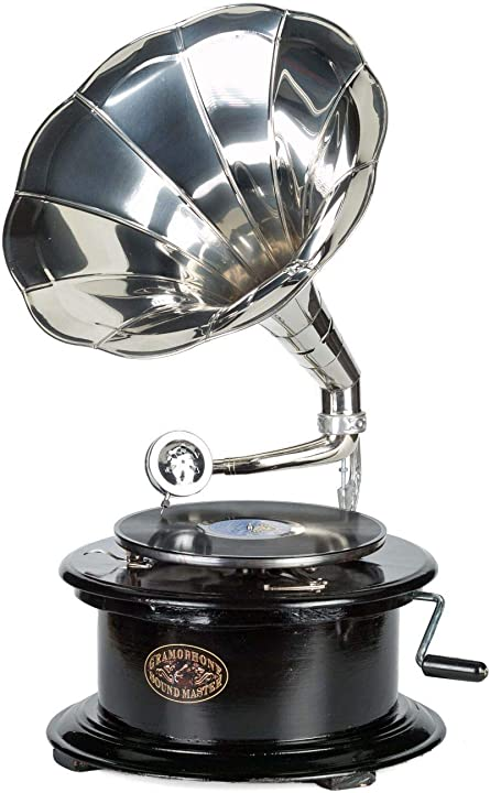 Grammophon legno gommalacca corno rotondo grammofono stile antico grammofono B00GWHSNZY