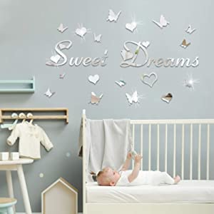 DIY Mirror Sweet Dreams Butterfly Wall Stickers for Bedroom, LASZOLA 3D Mirror Wall Letters Stickers with 12Pcs Butterflies Removable Art Decal Mural for Nursery Room Home Decoration (Silver)