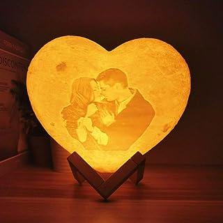 Lámpara de luna personalizada en forma de corazón con su propia foto y texto, luz nocturna de carga USB impresa en 3D, 2 colores / 16 colores, luz nocturna personalizada con foto, regalos