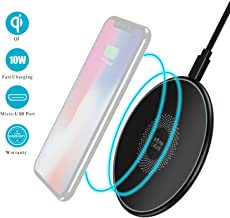 Beanlieve Qi Wireless Charging Pad,10W Wireless Charger Compatible with Galaxy S10/S10 Plus/S9/S9 Plus/S8/S8Plus,7.5W Wireless Charger Compatible with iPhone XS/X/8/8 Plus,5W for All Qi-Enabled Phone