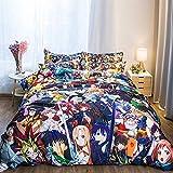 SMYUI Juego De Ropa De Cama Juego De Cuatro Piezas De Dibujos Animados 1.8M Anime One Piece Personality Sheet Juego De Tres Piezas De Naruto EdredóN Doble De Dormitorio -8Km02_1.5M (5 Pies)