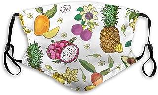 mascarilla lavable reutilizable con frutas dbujadas a mano,