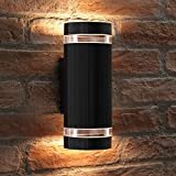 Auraglow Indoor/Outdoor Double up & Down Wall Light - Black - Warm White LED Bulbs Included