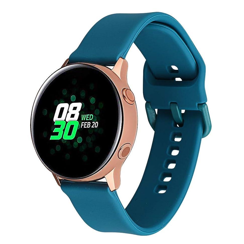レーザいつも見積り20MM交換ベルト 対応Samsung Gear Sport/Samsung Gear 2 Classic/Garmin Vivoactive 3/ Sumsung Galaxy Watch Active(40mm)等 上質シリコン ウォッチ バンド 多色選択 調整自由