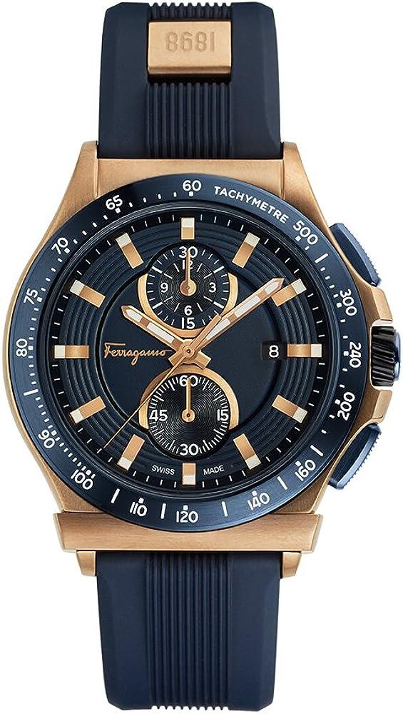 Salvatore ferragamo, orologio, cronografo per uomo in acciaio il quadrante guilloché,cinturino in caucciu` FFJ020017