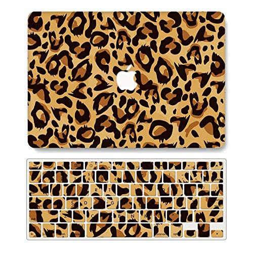 One Micron Case + Keyboard Cover Compatiblewith Old MacBook Pro 13 Inch, Plastic Pattern Hard Case Shell Compatible MacBook Pro 13.3 Inch (Model: A1278, with CD-ROM)-Dark Yellow Leopard