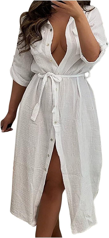 Womens Dresses Trendy Solid Shirt Dress Lapel Long Sleeve Beach Sundress Button Down Party Ball Gowns Slit Maxi Skirt