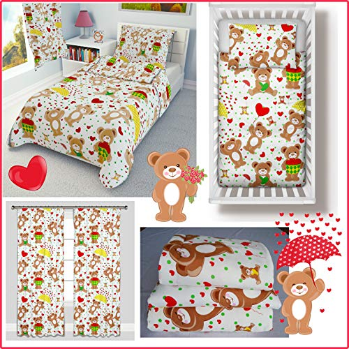 Nursery Baby Girl Boy Bedding Set 4-Piece incl Duvet + Pillow + Duvet Cover + Pillowcase Cute Teddy Bears (100x135 cm)