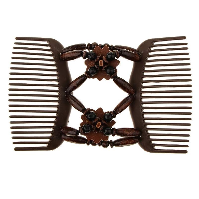 無法者テザーずっとLUOSAI ビーズストレッチダブルサイドコームクリップパンメーカーヘアスタイリングツール - コーヒーマジック木製