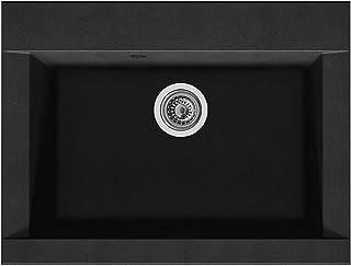 respekta OHIO66X50S Spüle, 60% Verbundmaterial aus Mineralstoffen und Glasfasern, 40% Kunstharz, Schwarz, 66 cm