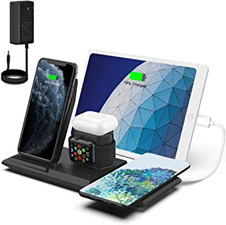 「2021年最新版」NANAMI 5in1 ワイヤレス充電器 Qi認証 5台同時充電 iWatch充電器収納可能 iPhone 13/13 Pro/13 Mini/12/12 Pro/12 Mini/SE2/11/11 Pro/ Xs/XR/X...