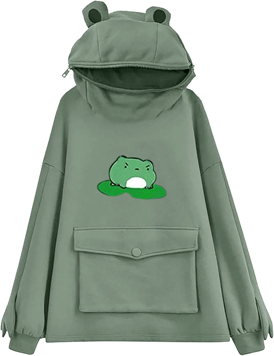 UOCUFY Sweatshirts for Women, Womens Fall Drawstring Hoodies with Pockets Pullover Hoodies Frog Hooded Sweatshirts Tops