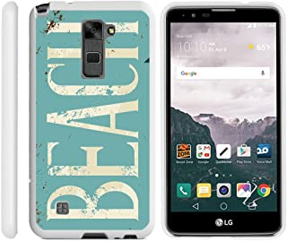 TurtleArmor | Compatible with LG Stylus 2 Case | LG G Stylo 2 Case [Slim Duo] Fitted Ultra Slim Hard Cover Rubberized Snap On Shell on White Beach - Beach Logo
