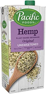 Pacific Foods Hemp Original Unsweetened Plant-Based Milk, Keto Friendly, 32 Fl Oz (Pack of 12)