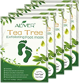 Foot Peel Mask (5 Pair), Repair Cracked Rough Heel & Remove Dead Skin & Peeling off Calluses, Exfoliating Foot Mask for Dry Skin, Get Baby Smooth Soft Touch Feet for Men & Women -Tea Tree