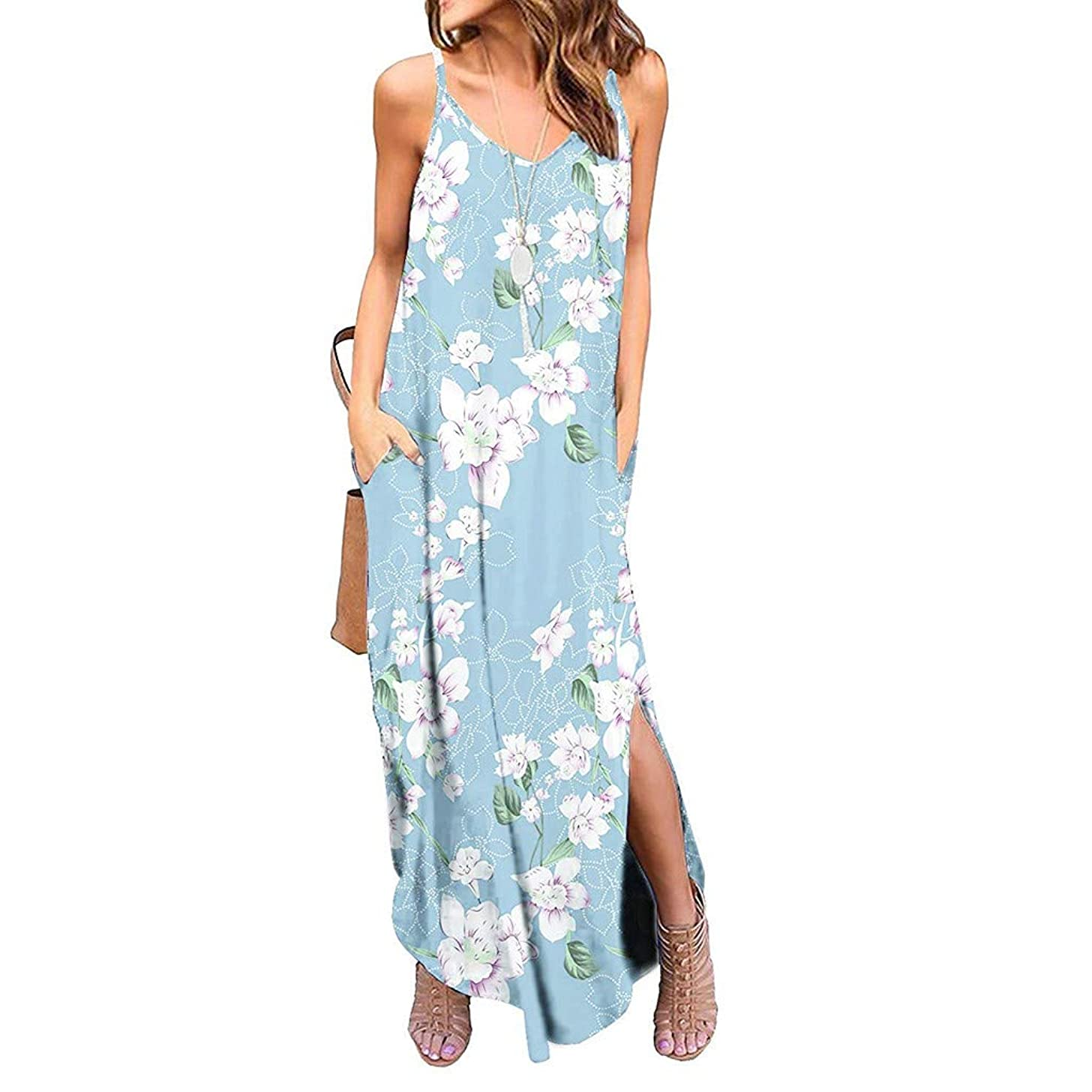 Hotkey Women's Dresses Women's Sleeveless Casual Floral Print Beach Long Maxi Loose Dress Pocket Plus Size