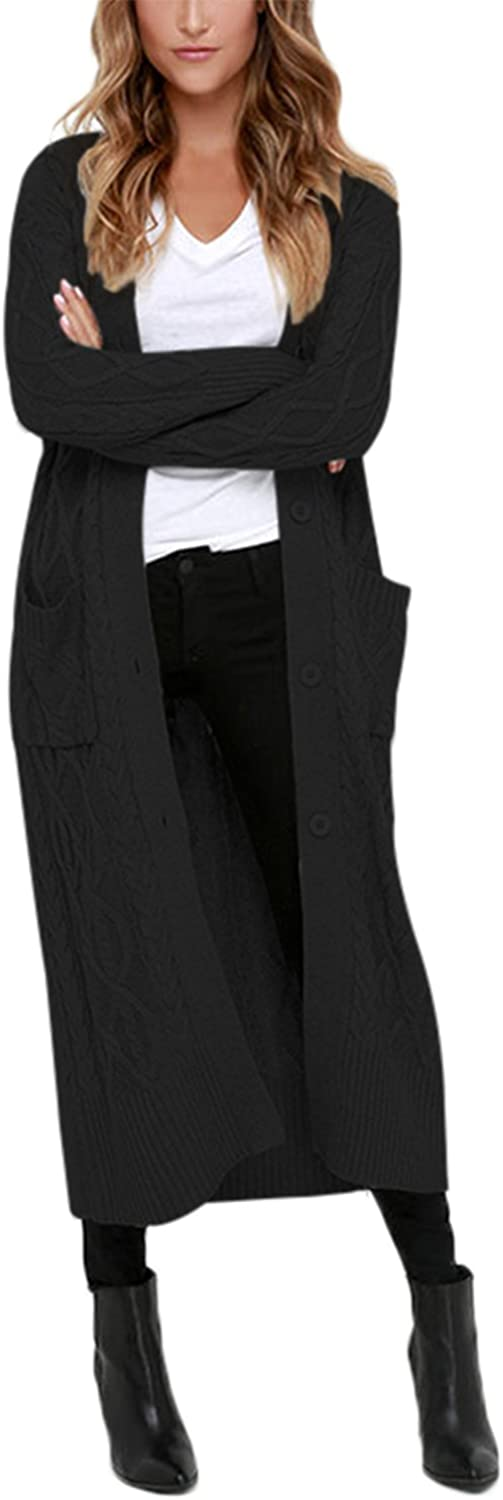 Dokotoo Womens Casual Open Front Long Sleeve Long Cardigans Knit Sweater Coat with Pocket