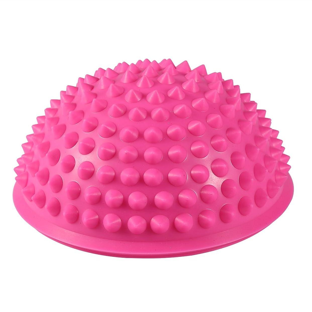 に渡って美容師郵便屋さんハーフラウンドPVCマッサージボールヨガボールフィットネスエクササイズジムマッサージ5色(ピンク)