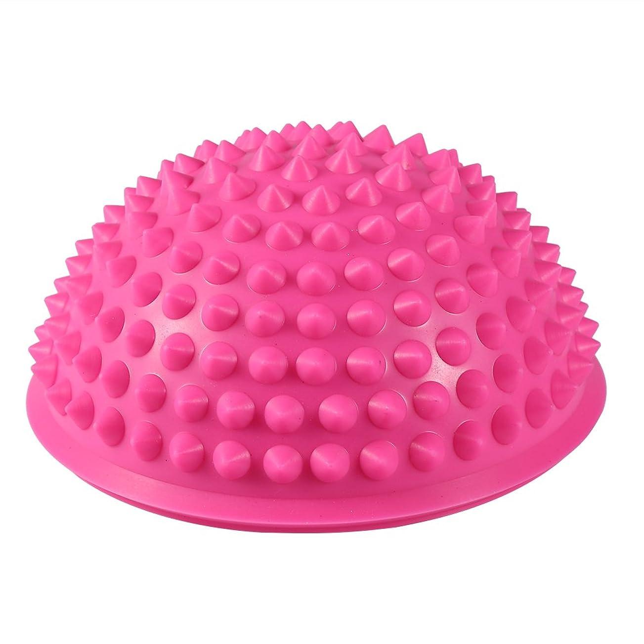 呼び出す最適ビリーハーフラウンドPVCマッサージボールヨガボールフィットネスエクササイズジムマッサージ5色(ピンク)