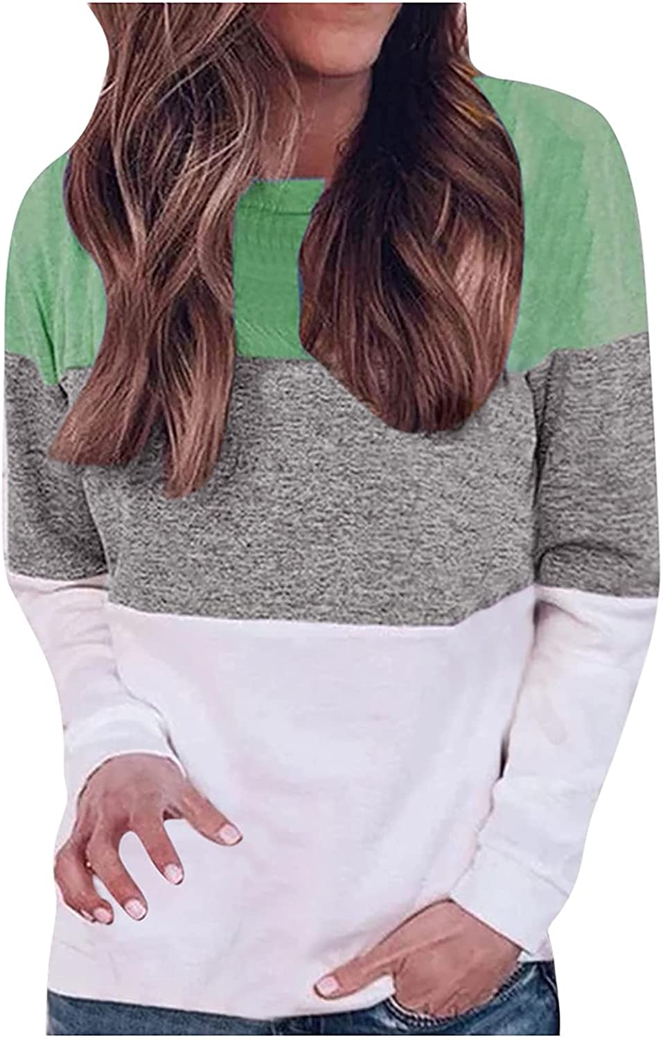 Workout Tops for Women,Womens Summer Casual O-Neck Long Sleeve T Shirts Loose Splicing Comfy Soft Sweatshirt Blouses