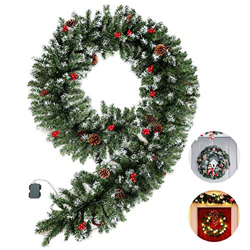 MRNIU Flocked Christmas Garland with Clear Lights, 70 LED 9 Foot by 15.7 Inch Battery Powered Waterproof String Light with Timer Pre-Lit Indoor Outdoor Xmas Artificial Decorations