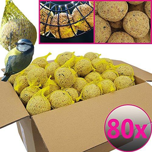 Bolas de grasa para pájaros - 80 bolas = 7,2 kg - Alimento natural con gran aporte energético para aves silvestres - Bolas de grasa con red individual para colgar