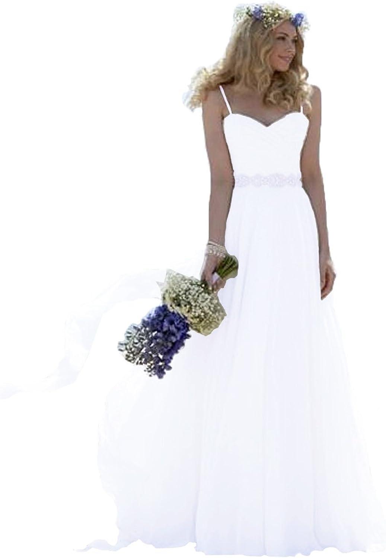 ANFF Women's Spaghetti Straps Wedding Dress Formal Party Evening Prom Dress
