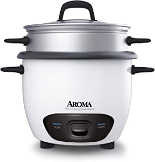 Aroma Housewares 6-Cup (Cooked) (3-Cup UNCOOKED) Pot Style Rice Cooker and Food Steamer (ARC-743-1NG)