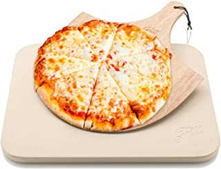 Hans Grill Pizza Stone Baking Stone for Pizzas use in Oven and Grill/BBQ Free Wooden..