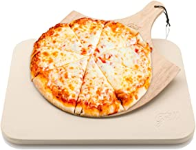 Hans Grill Pizza Stone Baking Stone for Pizzas use in Oven and Grill/BBQ Free Wooden Pizza Peel Rectangular Board 15 x 12 ...