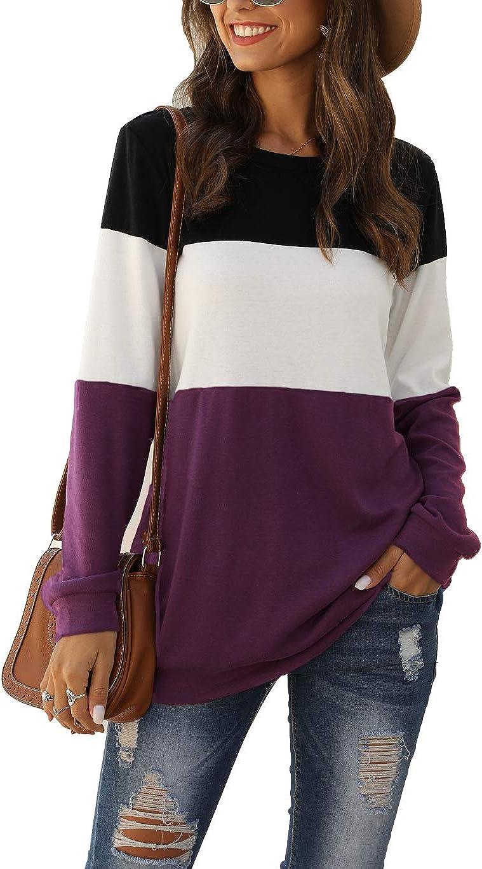 Locryz Womens Color Block Long Sleeve Round Neck Shirts Pullover Sweatshirt Tops