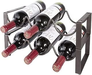 Stackable Wine Rack 2 Tier 6 Bottles Capacity Wine Storage Holder Heavy Duty Free Standing Metal Wine Organizer Shelf for Countertop Cabinet Cellar (Deep Bronze 2 Racks Only)