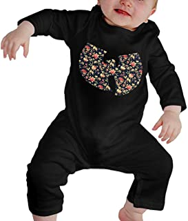 Newborn Jumpsuit Infant Baby Girls Wu-Tang Flowers Long-Sleeve Bodysuit Playsuit Outfits Clothes Black
