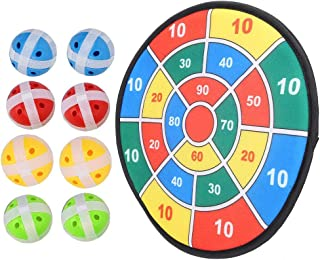 Dart Board for Kids, Dart Board Game Set with 8 Balls Colorful Lint Dart Board Game Self-Adhesive Dartboard Toy Set for Children Adult Bedroom Office Home