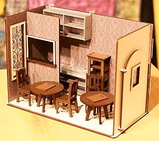 1/10スケールドールハウス 壁紙 カフェ家具・小物付き