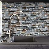 LUOWAN Adhesivo adhesivo para azulejos de pared autoadhesivo para azulejos de cocina, arte de vinilo para baño (ladrillo de piedra rústica, 10 x 20 x 20 x 20 cm, 27 unidades)