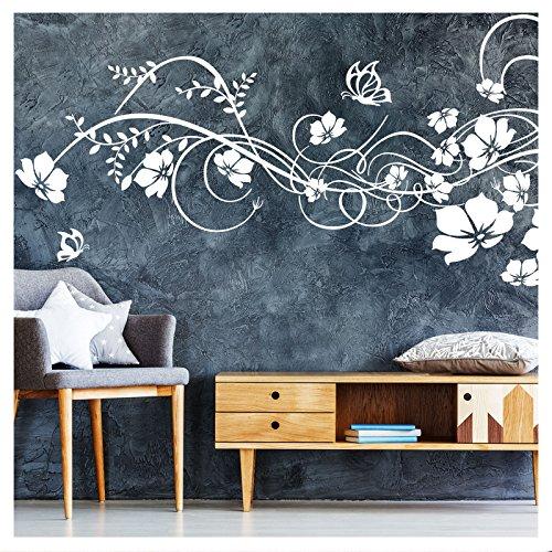 Grandora W973 Wandtattoo Blumenranke Levina I weiß (BxH) 197 x 78 cm I Wohnzimmer Flur Blüten Schlafzimmer Ranke Wandaufkleber Wandsticker