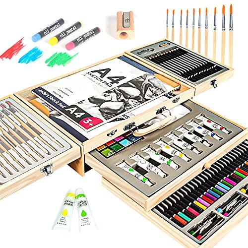 MIAOKE 84 Set de Pintura Niños, Caja de Madera Deluxe y Kit de Dibujo con Lápices de Colores, Pinturas de Acuarela, Pasteles al Óleo, Lápices HB, Acrílica, Pincel, 2 Bloc de Dibujo