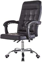 Furniture Mid Back Office Computer Desk Swivel Faux Leather Comfort Ergonomic Armchairs Kneeling Chair (Color : Black)