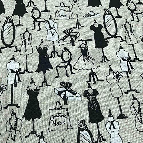 Kt KILOtela Tela de loneta Estampada - Retal de 100 cm Largo x 280 cm Ancho | Maniquís, Vestidos - Negro, Blanco, Beige ─ 1 Metro