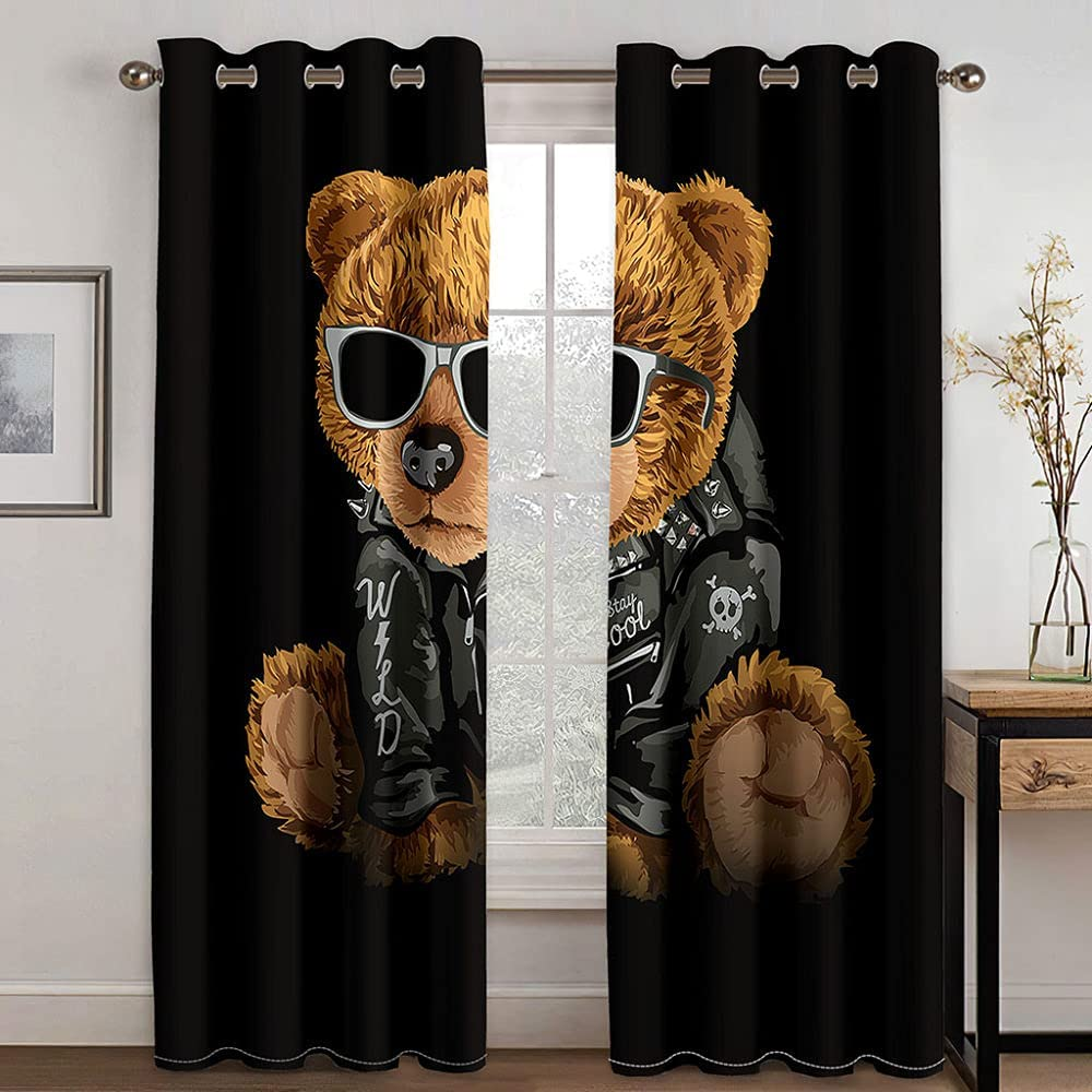 Mtoed Children's Blockout We OFFer at cheap prices Curtains Cartoon Fashion W84 L1 X Department store Bear