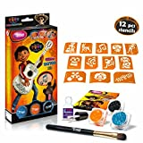 Disney Coco Glitter Tattoo Kit with 12 amazing stencils - Hypoallergenic, cruelty free - Lasting for 8-18 days, temporary tattoos