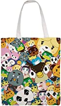 Canvas Reusable Grocery Shopping Bag for Women 15x16.5x4 inch Large,Washable,Foldable Tote Canvas Bags - Animal Crossing New Leaf Tsum Tsum Pattern
