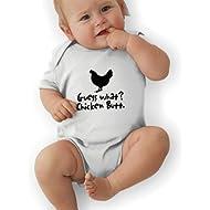 Newborn Baby Boy's Bodysuit Short-Sleeve Onesie Guess What Chicken Butt Print Rompers Spring Pajamas