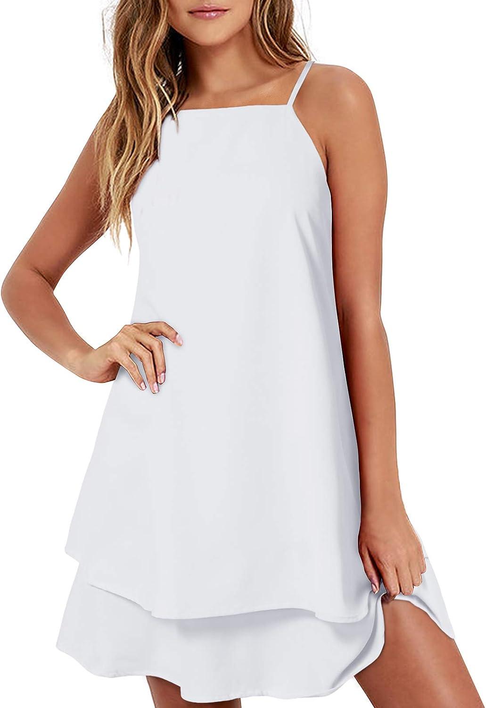 ZANZEA Womens Chiffon Dress Sexy Summer Beach Halter Short Dress Floral Print Casual Spaghetti Strap Mini Sundress