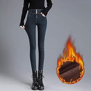 RUIKESI Jeans Mujer más Terciopelo Cintura Alta Adelgazante otoño e Invierno Pantalones Acolchados elásticos-Terciopelo Az...