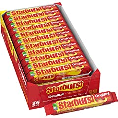 Contains (36) 2.07-ounce packs of Starburst original Fruit Chews Candy Starburst can be enjoyed alone or as a burst of juicy flavor added to your favorite recipes. Add an unexplainably juicy treat to your party, around your house—or stash a few for s...