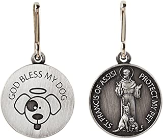 Silver Toned Saint St Francis Protect My Pet Collar Medal, 1 Inch