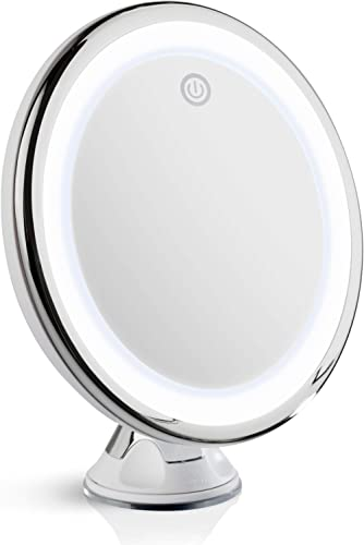 Fancii 10X Magnifying Makeup Mirror with True Natural Light, USB or Battery - 20 cm LED Lighted Travel Vanity Mirror,...